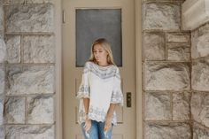 Piper Top – Nelipot Apparel Modest Bohemian Style White Top with Grey Embroidery