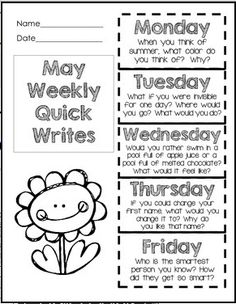 Daily Quick Writes for May in a foldableone sheet of paper for the entire week Fun promptstry the free Spring quick writes after checking these out Writing Lessons, Writing Resources, Writing Practice, Writing Activities, Writing Ideas, Kindergarten Writing, Teaching Writing, Second Grade Writing, Common Core Writing