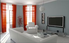 Looking for a Peinture Interieur Maison Que Choisir. We have Peinture Interieur Maison Que Choisir and the other about Maison Interieur it free. Accent Walls In Living Room, Curtains Living, Living Room Grey, Small Living Rooms, Grey Room, Tiny Living, Window Curtains, Family Rooms, Sheer Curtains