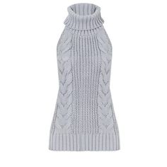 Yoins Yoins Sleeveless Turtleneck Sweater (420 MXN) ❤ liked on Polyvore featuring tops, sweaters, camisoles & tank tops, grey, turtleneck sweater, jacquard sweater, grey camisole, grey turtleneck sweater and sexy camisole