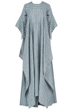 Ritesh Kumar presents Blue striped cascade kaftan with palazzo pants set available only at Pernia's Pop Up Shop. Linen Dresses, Cotton Dresses, Casual Dresses, Tunic Designs, Kurta Designs, Abaya Fashion, Fashion Dresses, Indian Fashion, Caftan Dress
