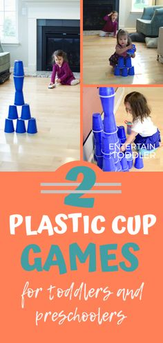 Here are two ways to play with a stack of plastic cups. Keep toddlers entertained and active indoors with these fun plastic cup games. Kids will work on building, hand-eye coordination, gross motor skills, and more. #entertainyourtoddler #grossmotorplay #indooractivities #activitiesforkids #toddleractivities #playindoors #learningthroughplay #stemactivities