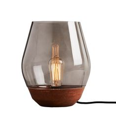 Bowl table lamp, raw copper - light smoked glass