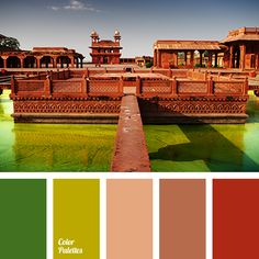 A contrasting combination of shades of green and brown becomes even more contrasting by adding brick-red to this this palette. This palette is good for dec.