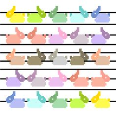 Sweet cross stitch pattern by CrossStitchtheLine. Rows of rainbow coloured little bunnies make this minimalist cross stitch project perfect for the nursery. A real must for the little ones!