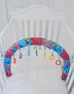 crib gym, crib toy, baby toy, play yard, baby boy, baby girl, baby shower, gift, 0-6 months, rainbow via Etsy