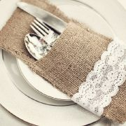 table setting with burlap and lace
