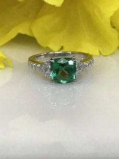 Engagement ring with Emerald Cushion Cut and Genuine Diamond Ring set in 14k White Gold Promise ring Wedding ring #5133