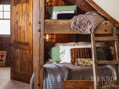 bunk beds, mountain homes, cabin bedroom, cabin, rustic design, kid bedrooms, Montana, repurposed wood, antique, western, cosy, neutral, woodsy, simple      ARCHITECTURE by Boone Nolte  PHOTO by Audrey Hall  PRODUCED by Loneta Showell  MORE INFO at http://www.mountainliving.com/article/remade-montana