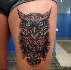 Owl thigh tattoos, owl tattoo drawings и tattoos. Maori Tattoos, Owl Thigh Tattoos, Thigh Tattoo Designs, Owl Tattoo Design, Tattoo Designs For Women, Love Tattoos, Body Art Tattoos, New Tattoos, Girl Tattoos