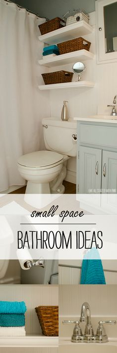 Small bathroom DIY remodel with space saving solutions with shelves and baskets and hooks; includes bead board wallpaper, painted sink, blue…