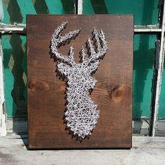 $30 Etsy String Art Deer Silhouette  Buck Head  Stag Sign  #Handmade by NailedItDesign.etsy.com
