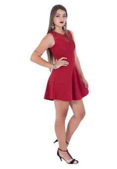 Vestido Estilo Fino Moda Renda Bordô - Marca Estilo Fino Moda