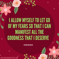Once you let go of your fears, you will manifest miracles into your life :) #empowered