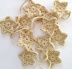 Star Garland, Crochet Garland, crochet ornament, fall garland, christmas garland, home decor, wall hanging, holiday decor / color option - by AliceRemembers.etsy.com