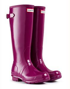 Hunter Original Back Adjustable Gloss Wellington Boots – Violet