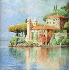 """Daily Paintworks - """"Villa Balbinello"""" by Joe Fitzgerald -  This man is a MASTER of colored pencil work!"""