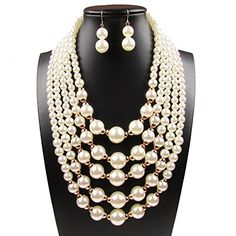 Women Elegant Jewelry Set White Pearl Bead Cluster Collar Bib Choker Necklace and Earrings Suit -- Check out the image by visiting the link.