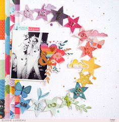 Christmas Unicorns Layout for Pink Paislee Christmas Scrapbook Layouts, Kids Scrapbook, Scrapbook Albums, Scrapbook Cards, Scrapbook Layout Sketches, Scrapbooking Layouts, December Daily, Stencil, Girl Birthday Cards