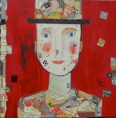 Man with a Checkered Past acrylic collage, on canvas ©barbaraolsen