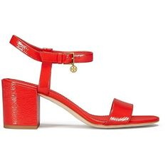 Tory Burch Laurel Ankle-Strap Sandals ($288) ❤ liked on Polyvore featuring shoes, sandals, ankle wrap sandals, tory burch shoes, evening sandals, leather ankle strap sandals and stilettos shoes