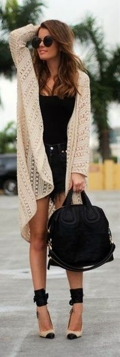 Oversized Cardigan With Jeans Shorts and Shades - Click image to find more fashion posts
