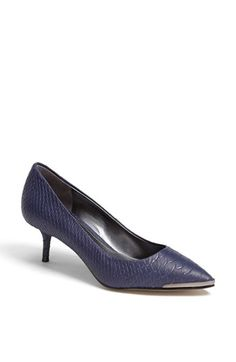 $73, Enzo Angiolini Graysn Embossed Leather Pump Navy Prussia 65 M. Sold by Nordstrom. Click for more info: https://lookastic.com/women/shop_items/79566/redirect