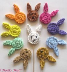 Easter Bunny (Plant) Stakes - Free Crochet Pattern / Easter Bunnies Flower Studs - Free Crochet Pattern (Natas Nest) - Easter Bunny (Plant) Stakes – Free Crochet Pattern / Easter Bunny Flower Plugs – Free Crochet P - Crochet Easter, Easter Crochet Patterns, Crochet Bunny Pattern, Crochet Motifs, Easy Knitting Projects, Easy Knitting Patterns, Crochet Projects, Knitting Needle Conversion Chart, Single Crochet