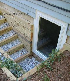 """Home Remodeling Basement Creative Window Well Projects. Not THIS is an idea! Not """"really"""" a walk-out basement. but kind of (in a pinch)! - Creative Ways to Dress up Your Window Wells Basement Window Well, Basement Entrance, Basement Windows, Basement House, Basement Apartment, Basement Walls, Basement Bedrooms, Basement Bathroom, Basement Finishing"""