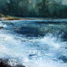 Stewart Edmondson Langerstone Point, Acrylic on paper 59 x 74 cm Seascape Paintings, Oil Painting Abstract, Abstract Canvas, Your Paintings, Ocean Canvas, Seen, Large Painting, Abstract Landscape, Modern Art