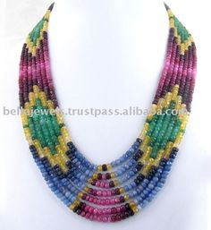 beaded jewelry | Designer Multi Gemstone Beaded Necklace Jewelry India - PayPal, View ...