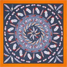 80bdfc805f5c La Maison des Carrés Hermès Plumes II   Via Tojo Orange Grey, Silk Scarves