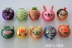 Fun Food Kids colorful onigiri bund farben reis rice reisbällchen tiere animals hase erdbeere rabbit strawberry chick küken frosch frog
