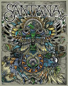 Vintage, retro, hippie, classic rock concert poster - Santana beautiful art…