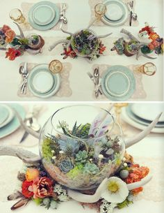 terranium table setting - aqua, mint, succulents, horns, www.utterlyengaged.com  Very into this minus the horns