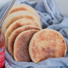 Our Thermomix English muffins are made from just a few basic ingredients, are so simple to make. and beat the store-bought versions every single time! Diabetic Recipes, Vegetarian Recipes, Yummy Recipes, Recipies, Protein Breakfast, Breakfast Recipes, Thermomix Bread, Full Fat Milk, Instant Yeast