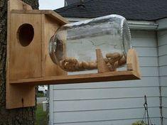 Handmade Cedar Wood Squirrel Feeder