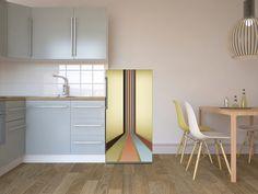 """Mit dem Design """"Color Lines 1"""" zum einzigartigen Kühlschrank - und zum Hingucker in deiner Küche! #color #lines #kuehlschrank #kueche #moebelfolie #designfolie #lifestyle"""