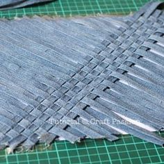 Denim weaving I can imagine how great this would look with other things (not just a purse) such as a quilt or a jacket back maybe even a chair cover O the possibilities are working in my head now.