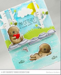 I'm using Otterly Love You stamp set, Birch Trees Die-namics, Solid Birch Trees Die-namics, Grassy Hills Die-namics, Blueprints 21 Die-namics and Puffy Clouds Die-namics to create my scene. The sky and water were both done with a Peerless Watercolors wash on Ranger Watercolor Paper and the images were stamped on X-Press It Blending Card with Black Licorice hybrid ink, colored with Copics and popped up on foam mounting tape for dimension.