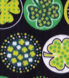 St. Patrick's Day Fleece Fabric-Shamrocks with Dots