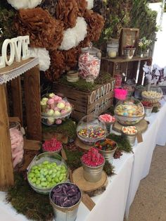 Candy buffet wedding - 17 Beauty Rustic Party Ideas and Inspiration – Candy buffet wedding Wedding Candy Table, Sweet Table Wedding, Rustic Wedding Centerpieces, Wedding Desserts, Buffet Wedding, Wedding Rustic, Candy Bar For Wedding, Sweet Tables, Wedding Ideas