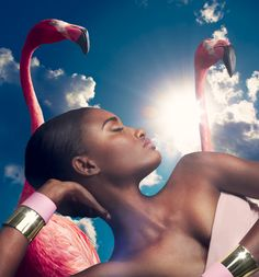 """""""In The Pink"""". Melodie Monrose featured in a spread for Harper's Bazaar, November 2013."""