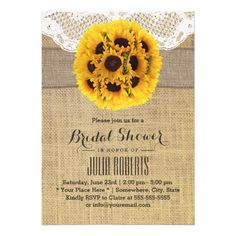 Country Sunflowers Laced Burlap Bridal Shower Cards