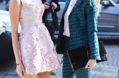 details details... #ElenaPerminova being pretty in pink and I can't remember who wore that suit but it is fab. Paris.