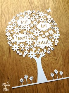 TEMPLATE - Personalised 'Daisy Family Tree' (Up to 8 names) Papercutting Template DIY / CYO