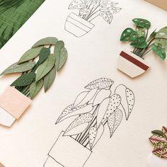 Paper plants by Raya Sader // paper art // paper sculpture Paper Artwork, 3d Paper Art, Paper Artist, Paper Plants, Plant Illustration, Diy Paper, Origami Paper, Diy Origami, Art Plastique
