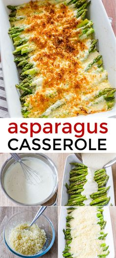 The easiest creamy, cheesy Asparagus Casserole! This is so impressive for company and it reheats really well. #asparaguscasserole #casserole #sidedish #asparagusrecipes #natashaskitchen Side Recipes, Veggie Recipes, Low Carb Recipes, Dinner Recipes, Vegetarian Recipes, Cooking Recipes, Vegetarian Dinners, Holiday Recipes, Clean Recipes