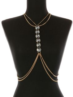 Glass Stone Cropped Body Chain