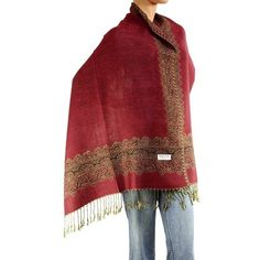 7c6d7cfb3 Rust Red Green Multicolor Large Double Sided Fringed Pashmina Silk Shawl  Scarf/Wrap
